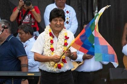 Evo Morales encabezó un acto en el estadio del Club Deportivo Español, en Buenos Aires, en el marco del 14° aniversario del Estado Plurinacional de Bolivia (Franco Fafasuli)