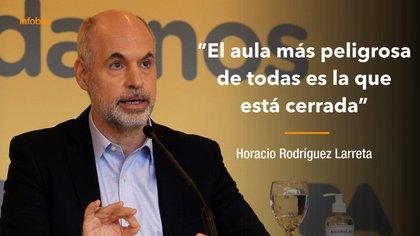 Horacio Rodríguez Larreta realizó una fuerte defensa de las clases presenciales