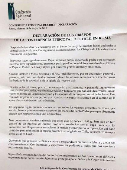 El comunicado de la Conferencia Episcopal de Chile