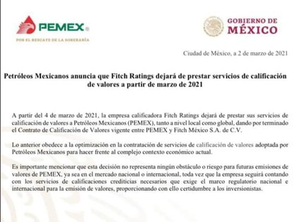 Pemex pone fin a contrato con Fitch Ratings para ahorrar