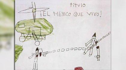 """Dibujos del libro """"El México que yo vivo"""", elaborados por niños de Michoacán y editado por la Comisión Estatal de Derechos Humanos."""