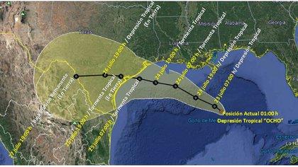 Proyecciones en la ruta de la Depresión Tropical Ocho (Foto: Twitter @Conagua_clima)