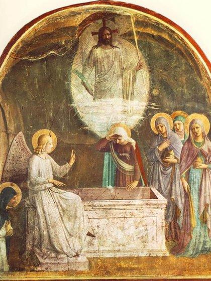 Las mujeres descubren el sepulcro de Jesús vacío. De Guidolino di Pietro (1455)