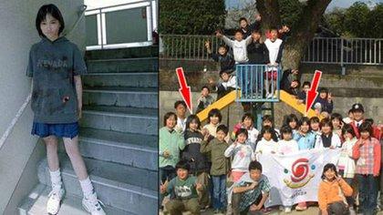 La supuesta foto de Natsumi ensangrentada que circuló (y que se afirma que es falsa, aunque varios compañeros la fotografiaron cuando bajó por las escaleras de la escuela luego del crimen). Y la última foto de Natusmi con su amiga y víctima, poco antes del crimen