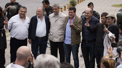 Mariotto, in 2018. He went to Comodoro Py to support Cristina Kirchner in one of her investigations as a defendant.  In the photo he is seen with Luis D'Elía, Axel Kicillof, Hugo Yasky and the late Horacio Fontova (Adrián Escandar)
