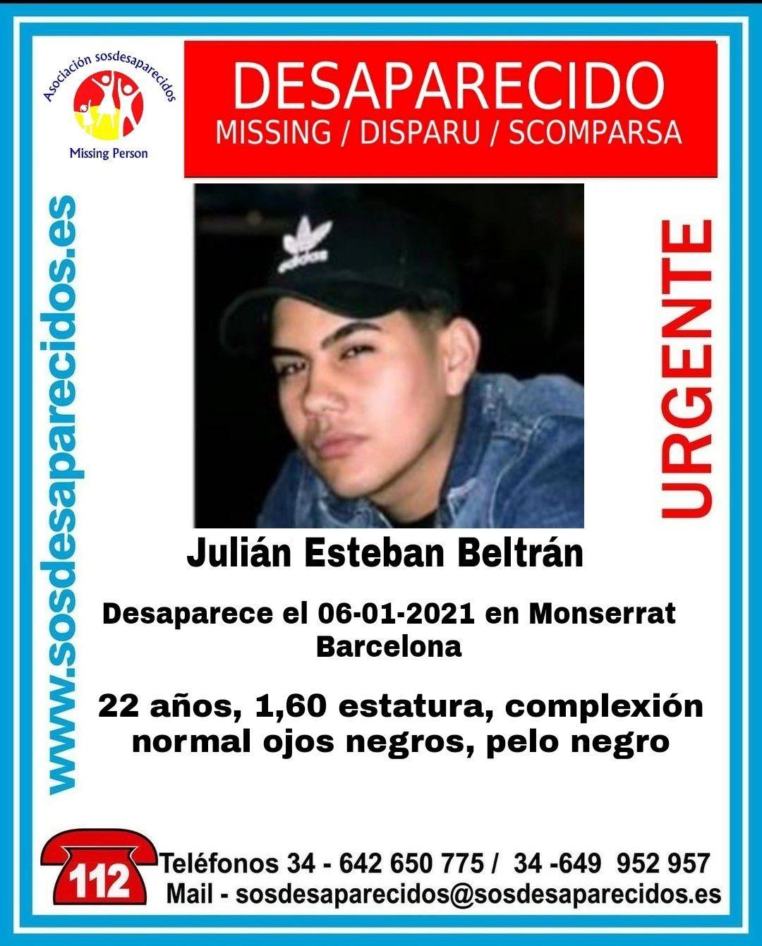 23/01/2021 Joven desaparecido. SOCIEDAD CATALUÑA ESPAÑA EUROPA BARCELONA SOSDESAPARECIDOS