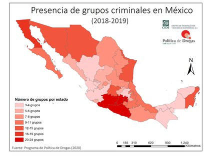 La presencia de grupos criminales en México. Según un nuevo mapeo del CIDE, en el país operan 148 células delictivas (Mapa: CIDE)