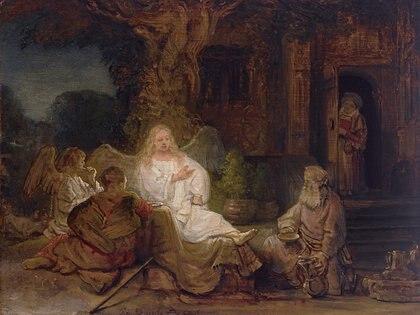 """""""Abraham y los ángeles"""", de Rembrandt"""
