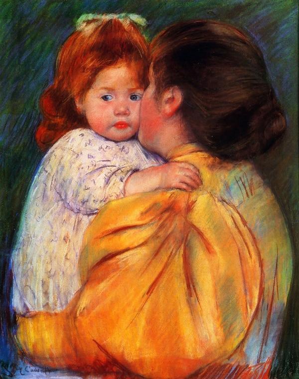 Beso materno, pintura de Mary Cassatt (1844-1926)
