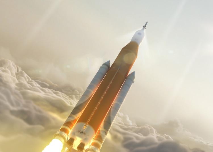 Representación artística del bloque 1 del SLS (NASA)