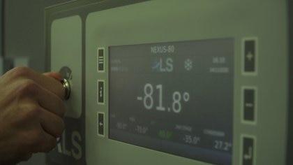 Una heladera industrial a -81 grados Celcius es vista en un aeropuerto italiano -REUTERS TV via REUTERS