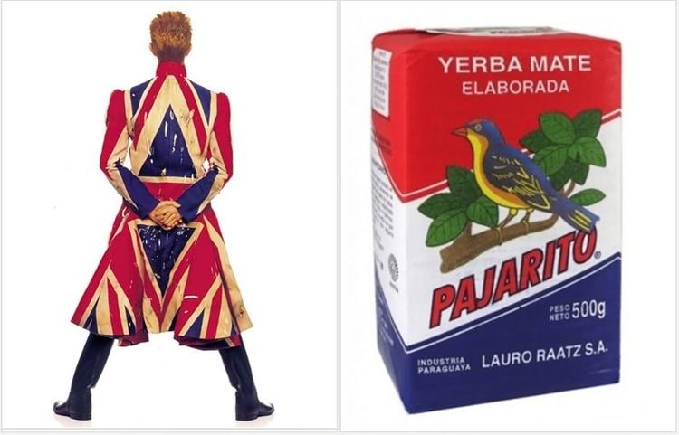 """El """"Duque Blanco"""" de espaldas, con una capa con los colores británicos que distinguen a la yerba """"Pajarito"""""""