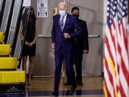 El candidato demócrata a las elecciones de noviembre en Estados Unidos, Joe Biden, llega a un evento de campaña en Wilmington, Delaware. REUTERS/Jonathan Ernst.