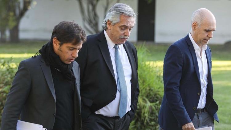 Alberto Fernández junto a Axel Kicillof y Horacio Rodríguez Larreta (Presidencia)