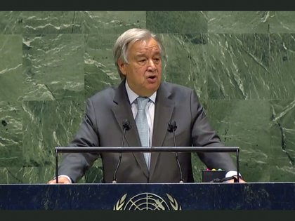 In this image made from UNTV, United Nations Secretary-General Antonio Guterres speaks during the 75th session of the United Nations General Assembly, Tuesday, Sept. 22, 2020, at U.N. headquarters in New York.  The U.N.'s first virtual meeting of world leaders started Tuesday with pre-recorded speeches from some of the planet's biggest powers, kept at home by the coronavirus pandemic that will likely be a dominant theme at their video gathering this year.  (UNTV Via AP )