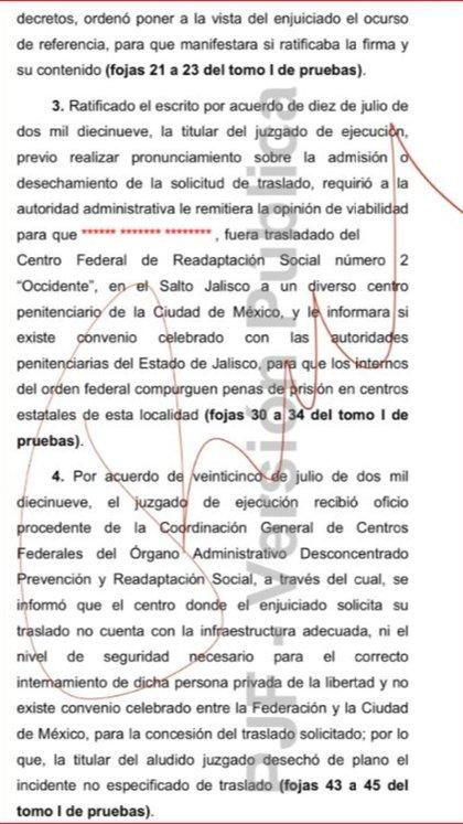 El Órgano Administrativo Desconcentrado Prevención y Readaptación Social respondió a la petición del Juzgado Quinto de Distrito especializado en Ejecución de Penas (Foto: CJF)