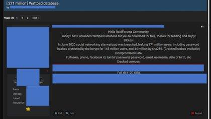 Los ciberdelincuentes ofrecieron la información obtenida en foros.