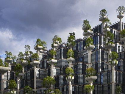 """El proyecto de 300,000 metros cuadrados fue concebido como una pieza de topografía que toma la forma de """"dos montañas cubiertas de árboles"""" pobladas por 400 terrazas y 1000 columnas estructurales (Hearherwick Studio)"""
