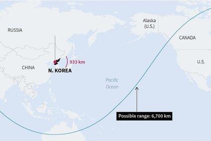 El alcance del misil Hwasong-14
