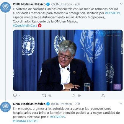 El Sistema de Naciones Unidas concuerda con las medias tomadas por las autoridades mexicanas para atender la emergencia sanitaria por #COVID19 (Foto: Twitter)