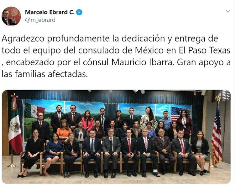 El canciller mexicano agradeció al consulado por el trabajo que han hecho (Foto: Twitter)