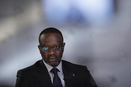 Tidjane Thiam, chief executive officer of Credit Suisse Group AG, speaks during a Bloomberg Television interview in Zurich, Switzerland, on Thursday, Feb. 13, 2020. Thiam's final results as Chief Executive Officer of Credit Suisse validated his shift to wealth management while again demonstrating the volatility of the investment bank and trading businesses.