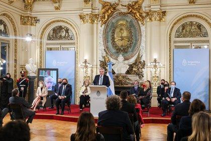 Alberto Fernández encabezó el acto en el que se ausentó la oposición (Presidencia de la Nación)