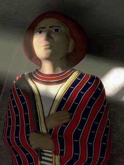 Reconstrucción digital de la estatua hallada en un sepulcro de Avaris, que podría ser de un hicso: el cabello es rojizo, la túnica, de colores