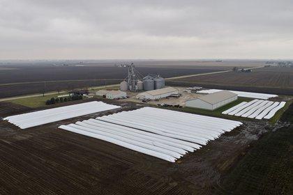 Soja y maís almacenado en una granja de Lovington, Illinois (Daniel Acker/Bloomberg)