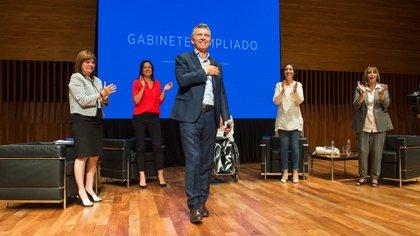 Mauricio Macri en la primera reunión de gabinete ampliado de mujeres