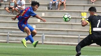 Seung Woo, cuando brillaba en las divisiones formativas de Barcelona