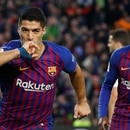 Soccer Football - La Liga Santander - FC Barcelona v Real Madrid - Camp Nou, Barcelona, Spain - October 28, 2018 Barcelona's Luis Suarez celebrates scoring their third goal with Ousmane Dembele REUTERS/Paul Hanna