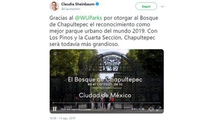 La jefa de Gobierno, Claudia Sheinbaum, agradeció el reconocimiento al Bosque de Chapultepec como mejor parque urbano del mundo (Foto: Twitter)