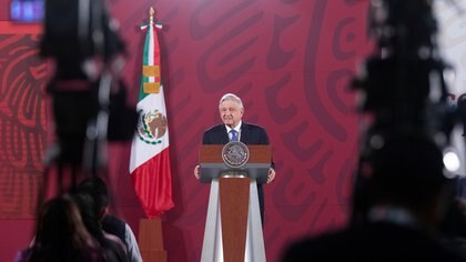 Mexico's President Andres Manuel Lopez Obrador speaks during a news conference before traveling to Washington D.C. to meet with U.S. President Donald Trump, at the National Palace in Mexico City, Mexico July 7, 2020. Mexico's Presidency/Handout via REUTERS ATTENTION EDITORS - THIS IMAGE HAS BEEN SUPPLIED BY A THIRD PARTY. NO RESALES. NO ARCHIVES