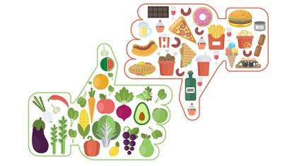 La correcta alimentación frente a la no tan sana (Shutterstock)