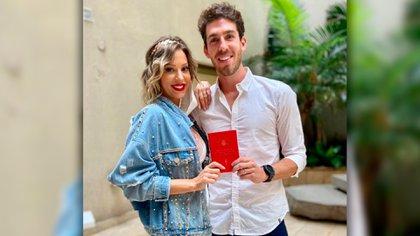 Noelia y Ramiro se casaron en febrero. José María Muscari fue uno de los testigos