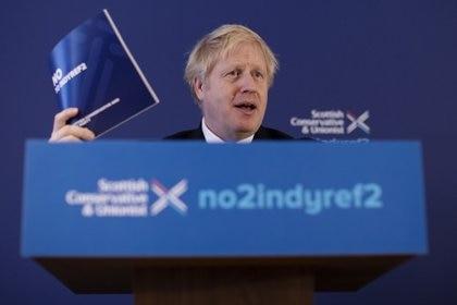 British Prime Minister Boris Johnson launches the Conservative Party Scottish Manifesto in North Queensferry, Scotland, Britain November 26, 2019. Dan Kitwood/Pool via REUTERS