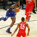 Feb 16, 2020; Chicago, Illinois, USA; Team LeBron forward LeBron James of the Los Angeles Lakers dribbles the ball around guard Kemba Walker of the Boston Celtics during the first quarter during the 2020 NBA All Star Game at United Center. Mandatory Credit: Dennis Wierzbicki-USA TODAY Sports