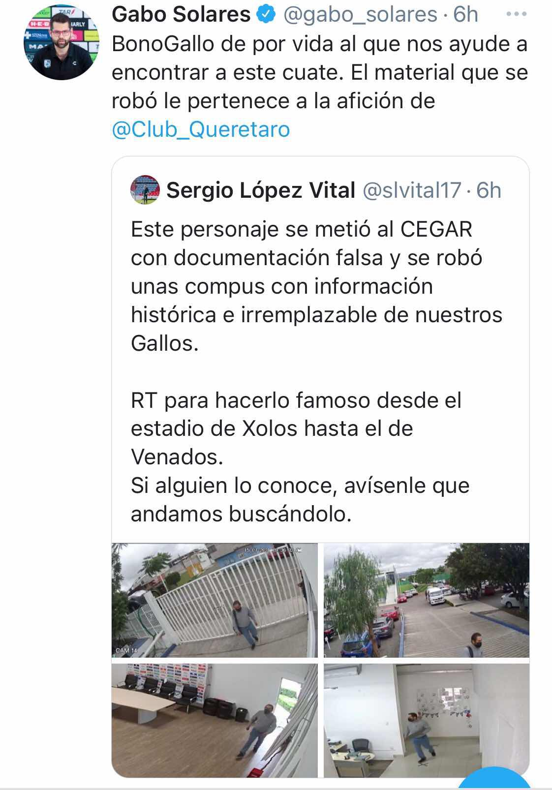 Club Querétaro ofreció recompensa para encontrar al culpable del robo (Foto: Twitter@Gabo_Solares)