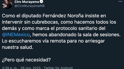 Tuit de Ciro Murayama donde acusa a Noroña de no colocarse el cubrebocas (Foto: Twitter@CiroMurayamaINE)