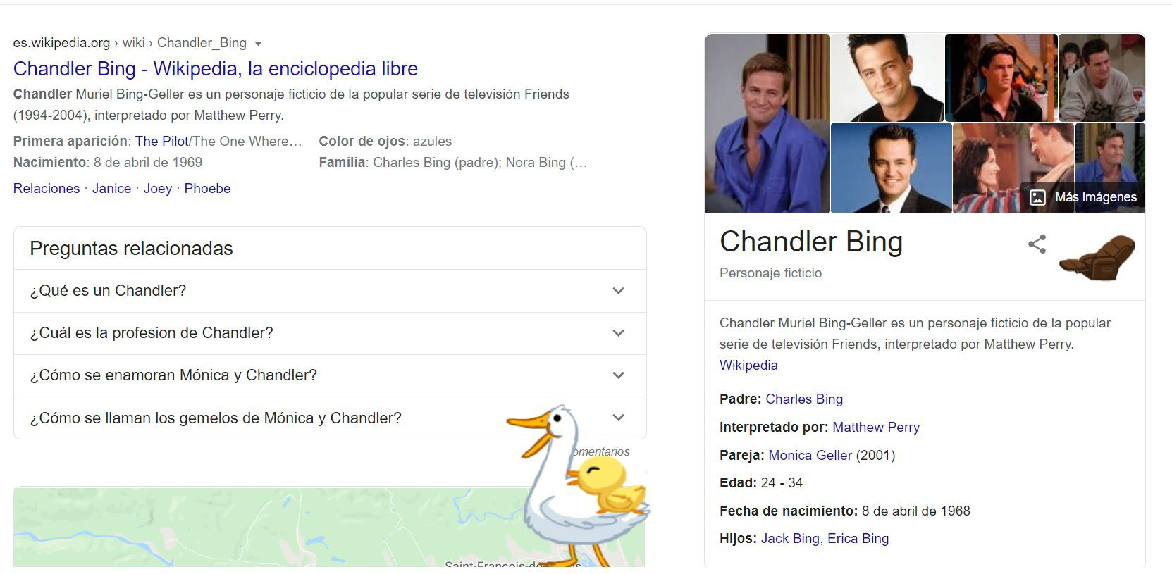 Chandler Bing en Google