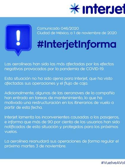 El comunicado de la aerolínea mexicana fue publicado este domingo por la noche (Foto: Interjet)