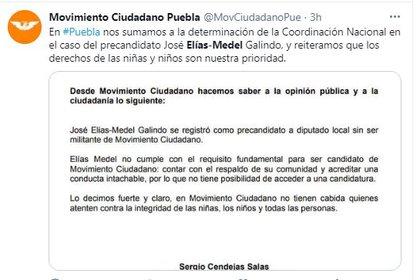 Movimiento Ciudadano se deslindó (Foto: Twitter)