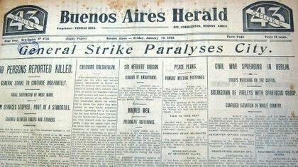 """La huelga general paraliza la ciudad"", tituló el Buenos Aires Herald"