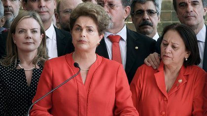 Dilma Rousseff durante el discurso posterior a la destitución