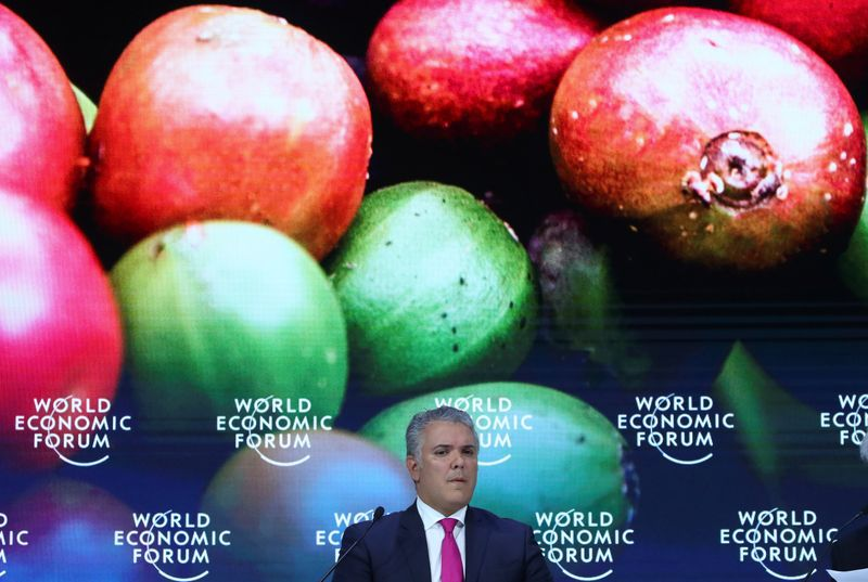 Foto del miércoles del presidente de Colombia, Ivan Duque, en una sesión del foro de Davos. Ene 22, 2020. REUTERS/Denis Balibouse