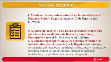 Se mantiene la cuarentena en las 3 localidades y se suman 3 más. Crédito: Alcaldía de Bogotá.
