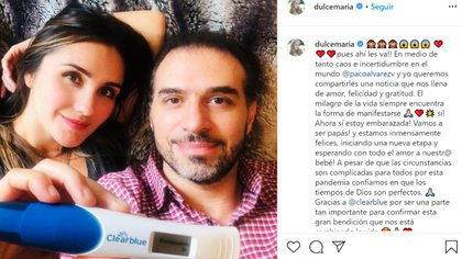 Fue el pasado mes de junio cuando la pareja dio la noticia de estar en espera de convertirse en padres (Foto: Instagram @dulcemaria)