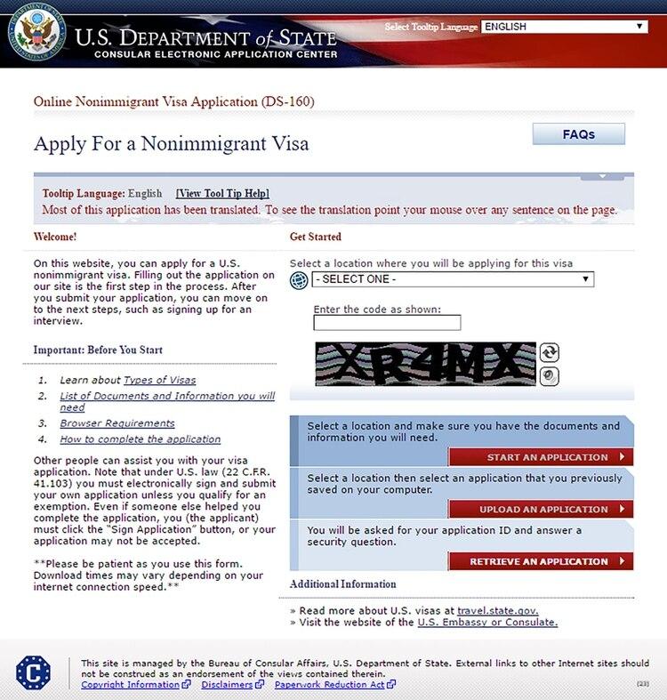 Formulario DS-160 para visa de Estados Unidos