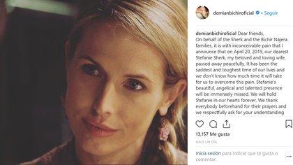 El actor pidió a sus seguidores vivir el luto en paz y en privacidad de la familia (Instagram @demianbichiroficial)